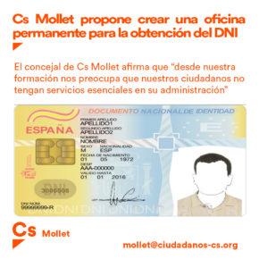 Cs Mollet propone crear una oficina permanente para la obtención del DNI