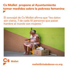 Cs Mollet propone al ayuntamiento tomar medidas sobre la pobreza femenina