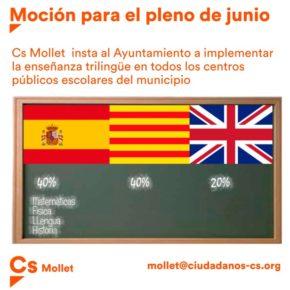 Cs Mollet insta al ayuntamiento a que se imparta una educación trilingüe en los colegios municipales.